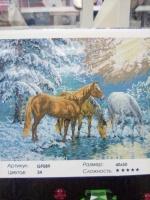 Алмазная мозаика Кони Зимой